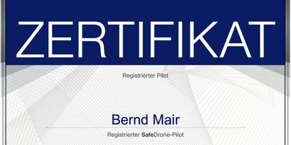 Safedrone Zertifikat, Registrierter Pilot